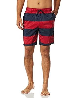 Nautica Men's Quick Dry Rugby Stripe Series Swim Trunk, Red, X-Large