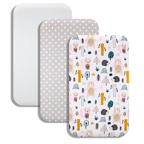 Lovely Hippo – Juego de 3 piezas: 83 x 50 cm – 2 sábanas fundas de Cododo y 1 protector de colchón – Compatible con cuna Cododo Chicco Next2me (nimalux bosques)