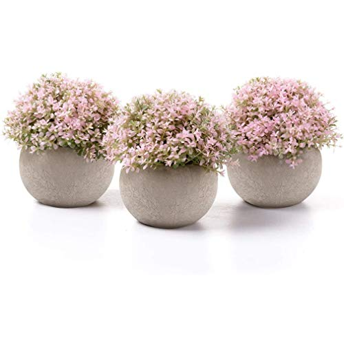 Aiskki Künstliche Blumen Bonsai Kunstpflanze mit grauen Topf künstliche Topfpflanzen, für Hochzeit/Büro/Garten/Zuhause Dekoration,3er Set (Rosa)