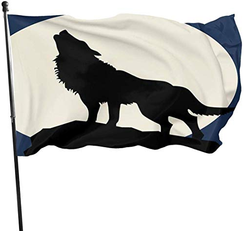 Viplili Flagge/Fahne, Wolf Roar in Full Moon Fahnen Flaggen Durable Fade Resistant Decorative Flags Premium Flag with Grommets Polyester Deluxe Outdoor Banner for All Seasons & Holidays- 3X5 Ft