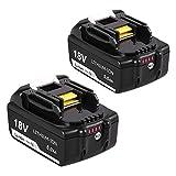Topbatt 2Pièces BL1850B 5.0Ah de remplacement pour 18V Batterie BL1850 BL1860 BL1840B BL1840 BL1830 BL1835 BL1845 BL1815 LXT-400 avec indicateur de charge à LED Outils électroportatifs