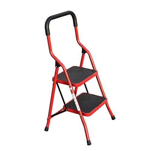 Herringbone Leiter, Metallfalte-Stufenleiter, Hauptstufenleiter, Innentreppe, Kleiner Schritt Hocker Stabilität und Sicherheit (Color : Red, Size : 2 Step Ladder)