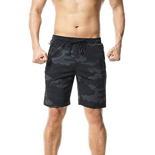 FELiCON Pantalones Cortos de Secado rápido para Correr, con Bolsillos con Cremallera, Sueltos, Ligeros Gris Negro M