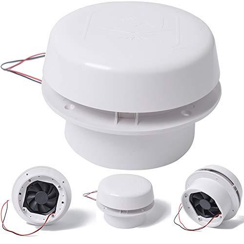 Dyda6 12 V Wohnmobil-Dachlüfter für Wohnmobil, 60 CFM, 1800 U/min, ABS, rund, Wohnmobil, Dach-Abluftventilator, Lufteinlass für Wand- oder Deckenmontage, weiß, Free Size