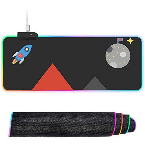 XIAOYANG Alfombrilla de ratón RGB de gran tamaño con LED brillante, antideslizante, base de goma, alfombrilla de teclado de ordenador, raza eléctrica, 400 x 900 x 4 mm