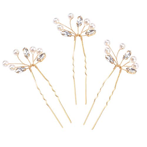 Missgrace Bridal Simple Gold Vintage Rhinestone Hair Pins for Festival and Party- Bridal Hair...