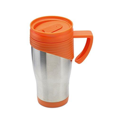 Mug de voyage en acier inoxydable, Acier inoxydable, Orange, d8.1x16.5cm