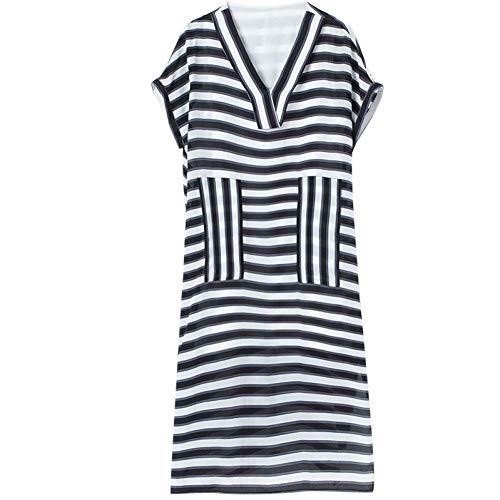 BINGQZ Cocktailjurken Zwart en wit gestreepte zijde grote maat jurk mode losse temperament zijde v hals korte mouw lente en zomer