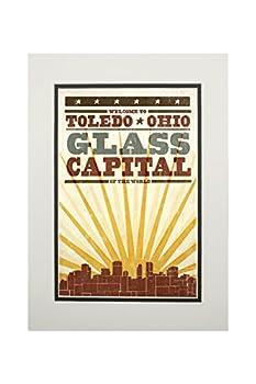 Toledo Ohio - Skyline and Sunburst Screenprint Style  11x14 Double-Matted Art Print Wall Decor Ready to Frame