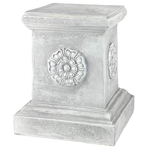 Design Toscano Englische Rosette Skulptursockel für den Garten Basisheber, Polyresin, Antikes Steingrau, groß 33 cm