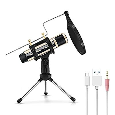 USB Microphone, ZealSound Condenser Recording Microphone Kit, Plug & Play Microphone for Phone, Laptop, MAC Windows, ASMR Garageband Smule Stream & Youtube Video Studio Voice Overs Broadcast (Gold)