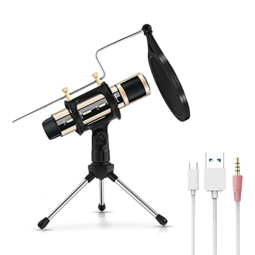 ZealSound USB Microphone Condenser Recording Mic Kit, Plug & Play for Phone, PC, Tablet, Laptop, MAC Windows, PS5 PS4, ASMR LiveStream & YouTube Video Studio Meeting Broadcast (Gold)