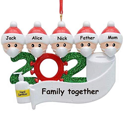 2020 Christmas Ornament Quarantine Personalized 2-5 Family Members Christmas Trees Decorations Kit DIY Creative Gift Family Home Decor