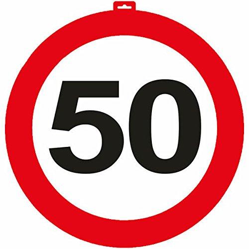 Carpeta® - Riesen Verkehrsschild * Zahl 50 * ┃ Ø 47,5cm ┃ Deko 50. Geburtstag ┃ Türschild und Straßenschild ┃ Mit & ohne Aufhänger ✔