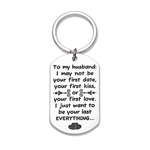 Vanlentine's Day Gifts for Him Her Wife Husband Keychain Gift for Boyfriend Girlfriend, Stocking Stuffer Anniversary Wedding Gifts for Mens Keychain I May Not Be Your First Date Kiss or Love