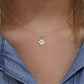 Luxcastle Silver Dog Cat Necklace for Women Animal Paw Pet Choker Necklace Pendant Footprints Jewelry Accessories for Girls