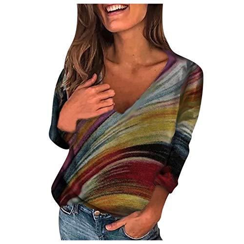 HeroHarold Camisas de punto para mujer, de rayas, coloridas, tallas grandes, cuello en V, ajuste holgado, de manga larga, blusa de vinatge casual, tallas S-5XL