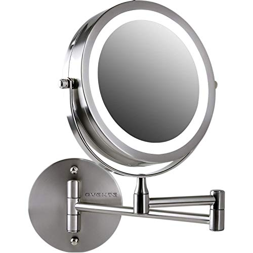 OVENTE Wall Mounted Vanity Makeup Mirror 7 Inch with 10X Magnification and LED Light, 360 Degree Swivel Rotation with Distortion Free View, 4 AAA Batteries Operated, Nickel Brushed (MFW70BR1X10X)