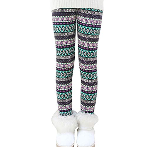 Ugitopi Mädchen Winter Dicke Warme Lange Hosen Druck Fleece Gefüttert Leggings Rhombus 130