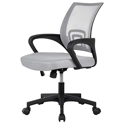 Yaheetech Mesh Ergonomic Computer Chair, Adjustable Grey Desk Chair with Wheels, Modern Task Chair with Lumbar Support