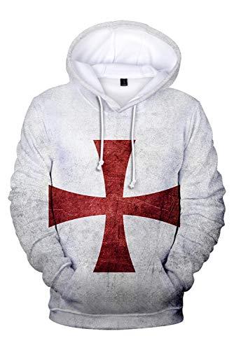 Herren Damen Kapuzenpullover Hoodie Sweatshirt Sweat Hood Pullover-Shirt mit Kapuze Knights Templar Mittelalterliche Kreuzfahrer Rüstung Tempelritter Retro Kreuzfahrerkreuz Crusader Cross Grau M
