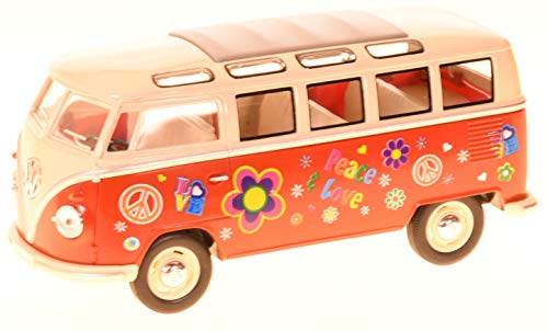 VW Bulli Bus rot Hippi 1:24 Volkswagen Microbus Modellauto 12176