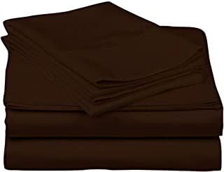 JS Sanders Collection Kooton King 800 Thread Count Egyptian Cotton California King Sheets, Chocolate: 4 Piece, 14