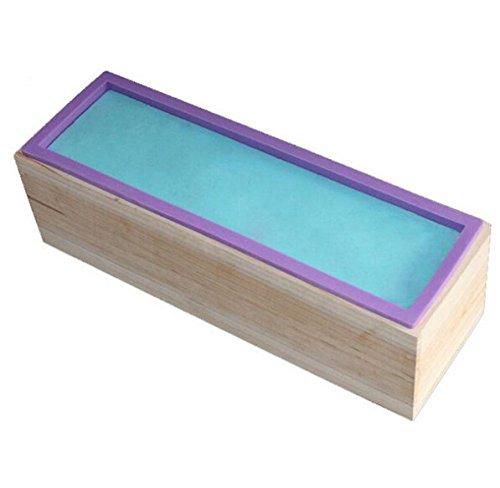 Allforhome Silikon-Form für handgefertigte Seife, rechteckig, flexibel, mit Holzkasten, für 1,2kgSeifenmasse