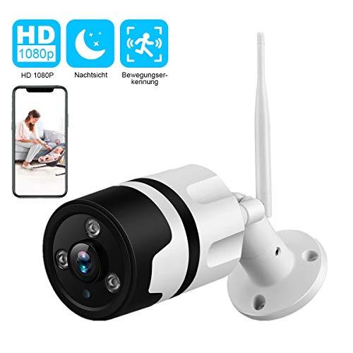 Dericam 1080P Wireless Outdoor-Überwachungskamera, 2-Megapixel-Full-HD-WLAN Kamera großer Betrachtungswinkel bis 170 °externer TF-Kartensteckplatz bis zu 128 GB IP66-Metallgehäuse B2S Weiß