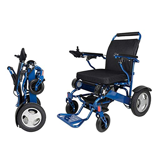 WXDP Elektrischer Rollstuhl mit Selbstantrieb aus Aluminiumlegierung, zusammenklappbar, tragbar, für ältere Menschen mit Behinderten, intelligent, blau