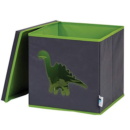 STORE IT Spielzeugkiste mit Sichtfenster, Dino - grau/grün