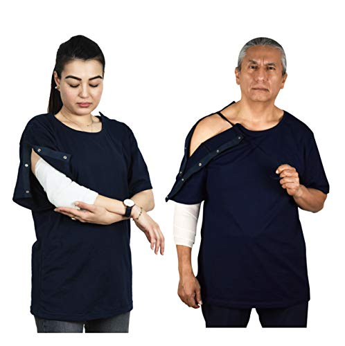 Post Surgery Shirt with Right Shoulder & Side Access via Hidden Snaps (3XL,Navy)