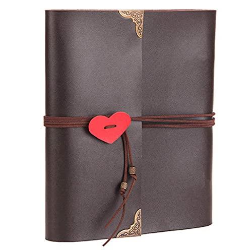 Delisouls Álbum de fotos para parejas, de cuero retro, hecho a mano, para hacer recuerdos de crecimiento, para niños