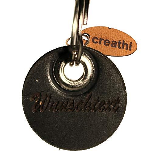 Anhänger rund schwarz (Kreis) fürs Halsband personalisiert ECHTES Leder! Hundemarke ohne geklimper! (Mini)