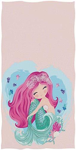 OCEAN AN Sirenita Encantadora de Dibujos Animados con Peces y Conchas Marinas Toallas de Mano Suaves para Invitados 27.5x15.7 Pulgadas Rosa Claro