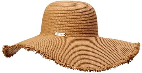 Hurley Mykonos Strohhut für Damen, breite Krempe, Schlapphut, Strohhut - Braun - Einheitsgröße