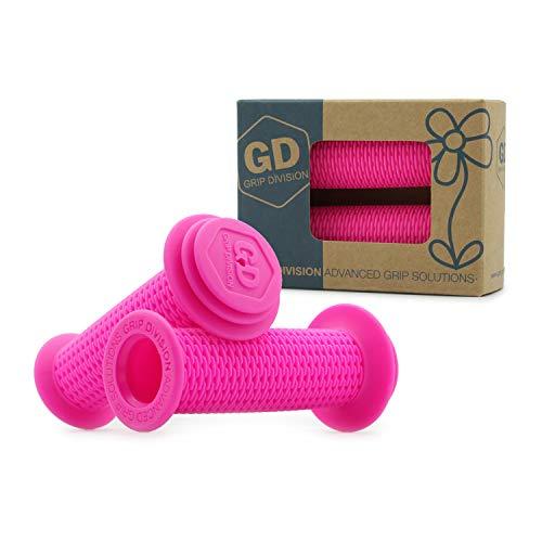GD Grip Division ® Puños para bicicleta infantil con protección de seguridad contra impactos y protección antiperforación, sin sustancias nocivas, para manillar de 22,2 mm, color rosa neón