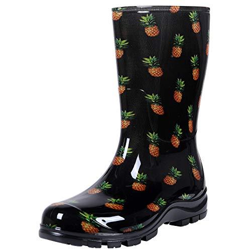 Asgard Women's Mid Calf Rain Boots Short Waterproof Garden Shoes Black Pineapple 39