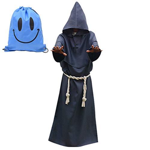 Myir Disfraz de Monje Sacerdote Túnica Medieval Renacimiento Traje con Cruz para Halloween Carnaval (XXL, Gris)
