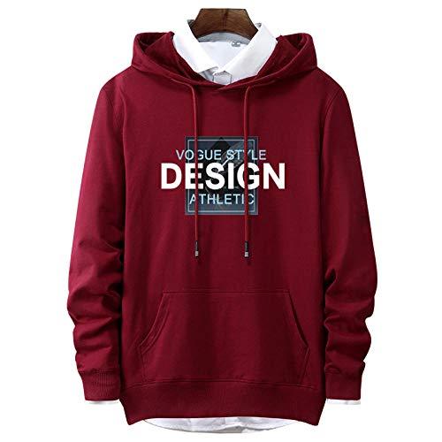 Sudadera casual con capucha para hombre, con estampado de letras, para adolescentes y hombres y mujeres, suéter, con bolsillo tipo canguro, talla grande (S-5XL) Rojo Vino Tinto XXXX-Large