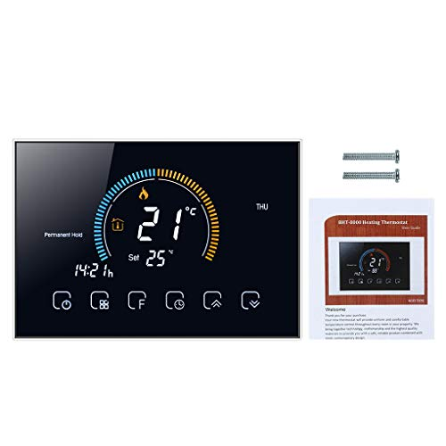 Fangjuhua Termostato Programable de 5 + 1 + 1 Temperatura LCD retroiluminado de Calentamiento de Agua de Temperatura del Agua de calefacción Controlador, Negro