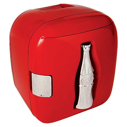 Coca-Cola CCU09 AC/DC Electric Cooler-Holds Up to 12 Cans, Portable Thermoelectric Mini Fidge for Trucks, Dorm Rooms, Bedroom and Offices, Red