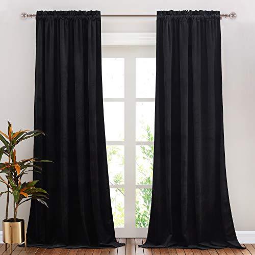 NICETOWN Black Velvet Curtain, Bedroom Velvet Blackout Curtain Panels, Solid Heavy Matt Drapes/Window Treatments for Bedroom, Boys Room (2 Panels, 84 inches Long)