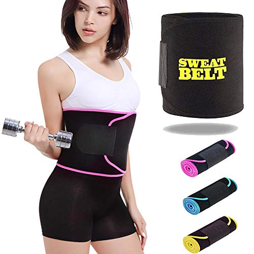 CONSONANTIAM Synthetic Sweat Belt for Belly Burner, Weight Loss, Tummy Fat Cutter, for Men and Women (Black)