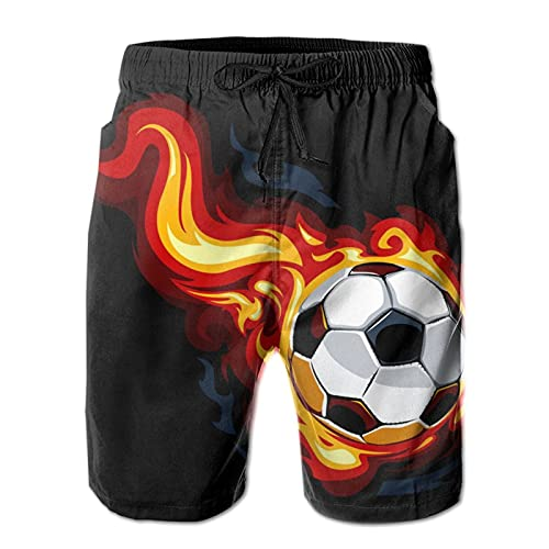 ZORIN Bañador para hombre de fútbol llama, fuego, negro, de secado rápido, atlético, con forro de malla y bolsillos