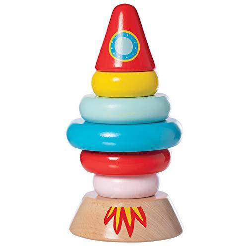 Manhattan Toy- Stacker Rocket Baby and Toddler 7 Piece Magnetic Wooden Stacking Toy Set Gerbeur en Bois, 218360, Multi