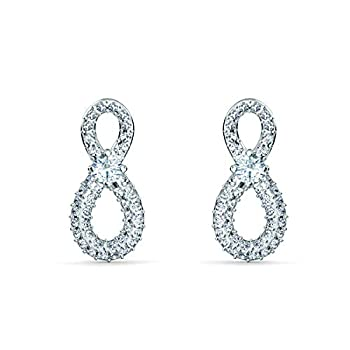 Swarovski Infinity Stud Pierced Earrings with a White Crystal Stone Set on Crystal Pavé Infinity Symbol on a Rhodium Plated Setting
