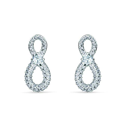 Swarovski Infinity Mini Pierced Earrings, Infinity Sign, Bright White Crystals with White Centre Stone, Rhodium Plating, Swarovski Infinity Collection