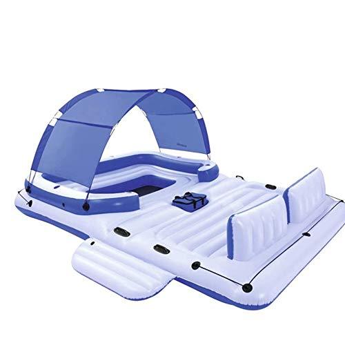 LYATW Bañera inflable 2 en 1 multi-persona sobre colchón de aire cama de agua flotante Fila cama flotante con la tienda de sombra, pueden llevar 6-8 Personas natación del barco Ocio Piscina Salón de j