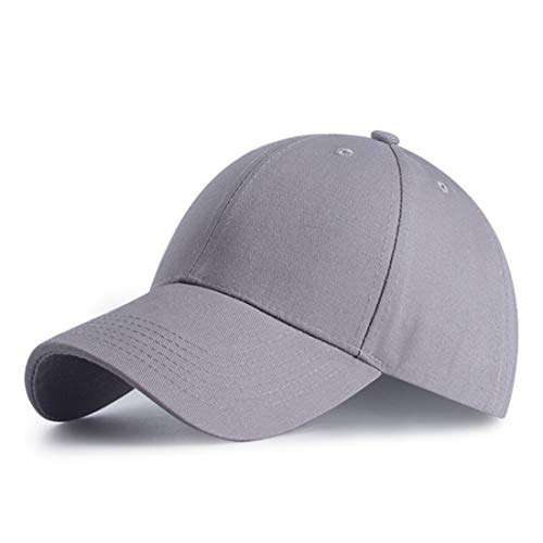 HGDGears Baumwolle Baseball Kappe Snapback Trucker Cap Verstellbar Sport Visier Hut für Herren und Damen (Grau)
